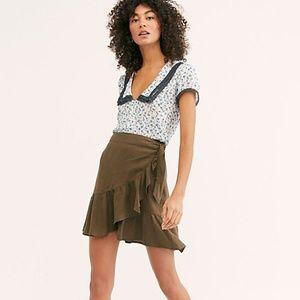 NWT Free People Ruffle My Feathers Mini Skirt